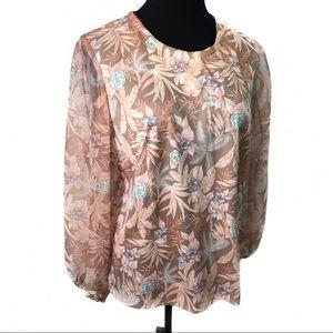 Lovely 70's sheer poof sleeve blouse